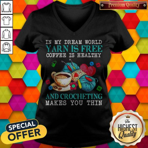 Awesome In My Dream World Yarn Is Free Coffee Is Healthy V-neck