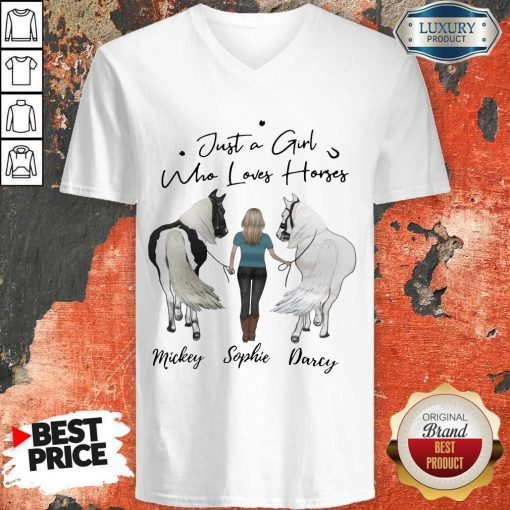 Awesome Just A Girl Who Loves Horses Mickey Sophie Darcy V-neck