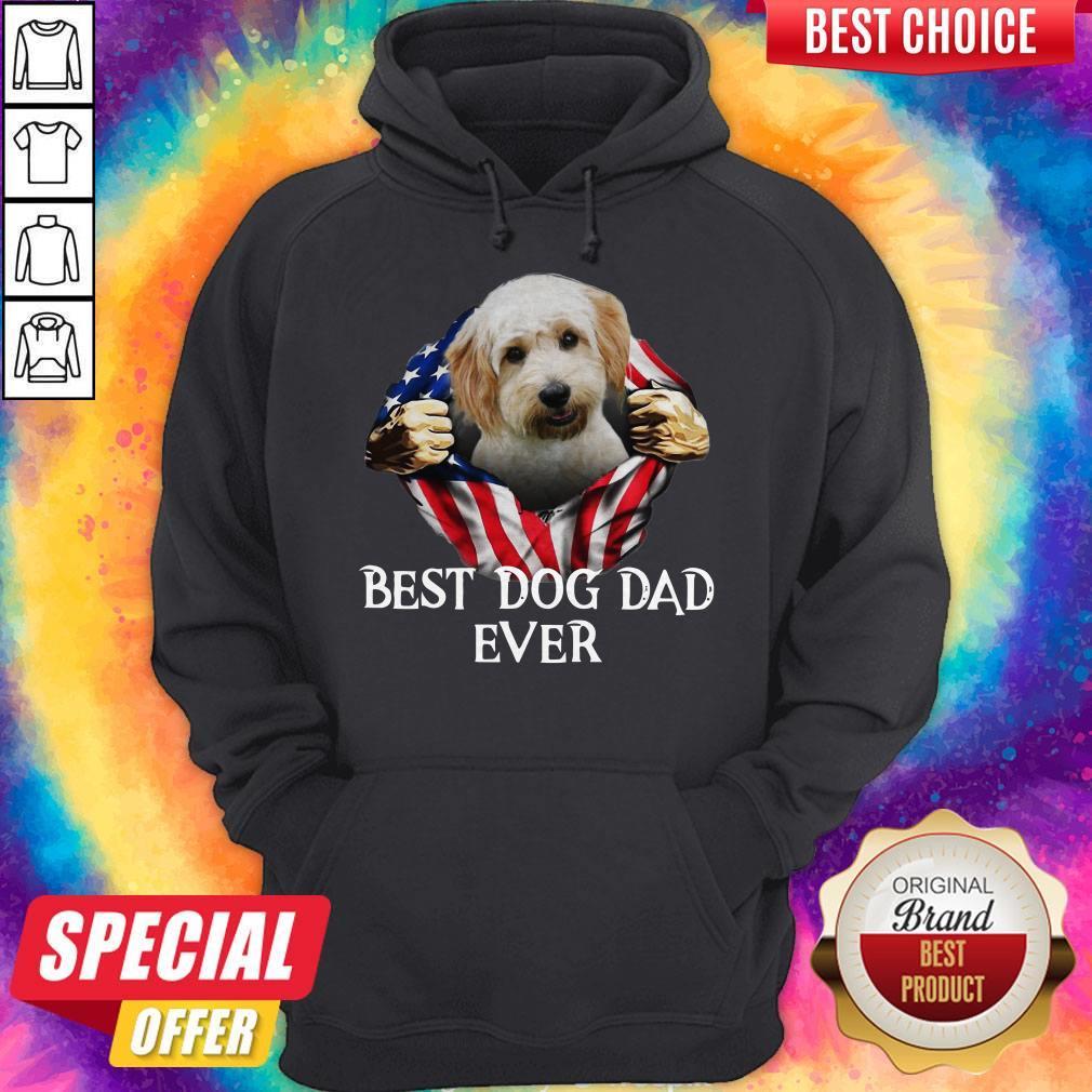 Cute Blood Inside Me Cavachon Dog American Flag Best Dog Dad Ever Hoodie
