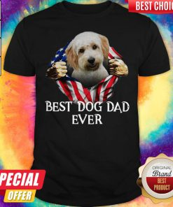 Cute Blood Inside Me Cavachon Dog American Flag Best Dog Dad Ever Shirt