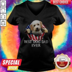 Cute Blood Inside Me Cavachon Dog American Flag Best Dog Dad Ever V-neck