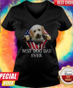 Cute Blood Inside Me Cavachon Dog American Flag Best Dog Dad Ever V-neck