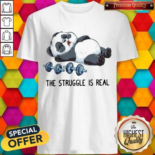 Cute Panda The Struggle Is Real Bear Deadlift Funny Gym Shirt