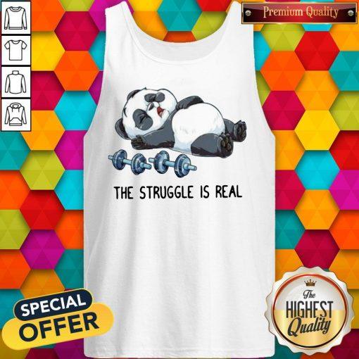 Cute Panda The Struggle Is Real Bear Deadlift Funny Gym Tank Top
