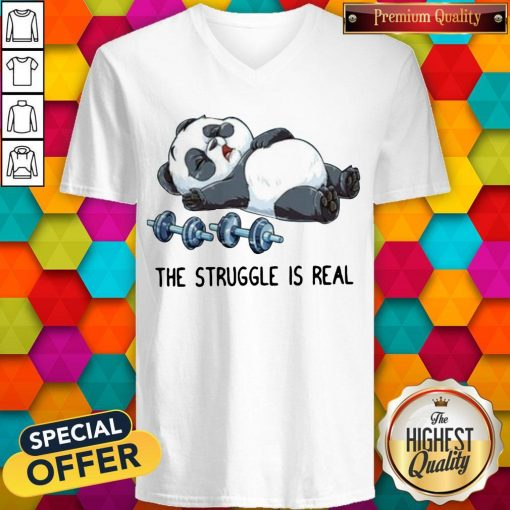 Cute Panda The Struggle Is Real Bear Deadlift Funny Gym V-neck