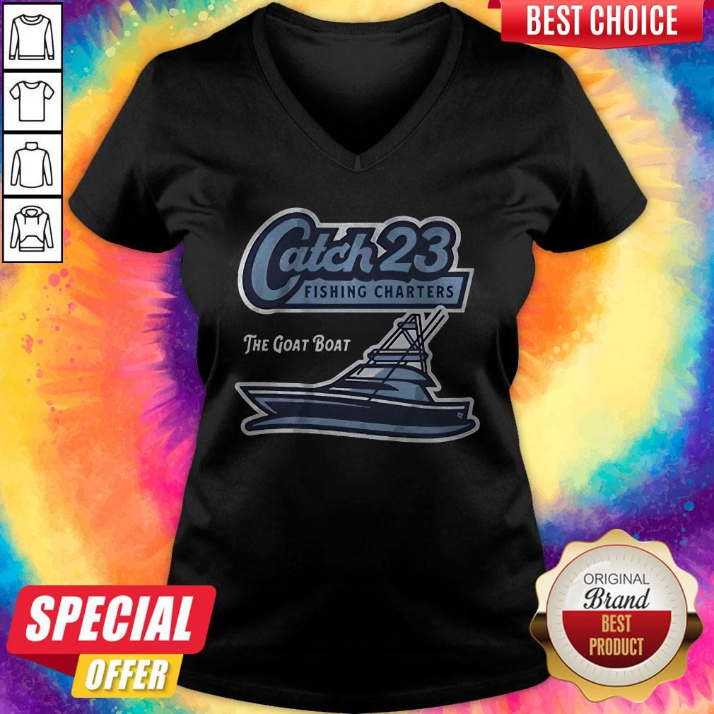 Get Your Catch 23 Fishing Charters The Goat Boat   V- neck