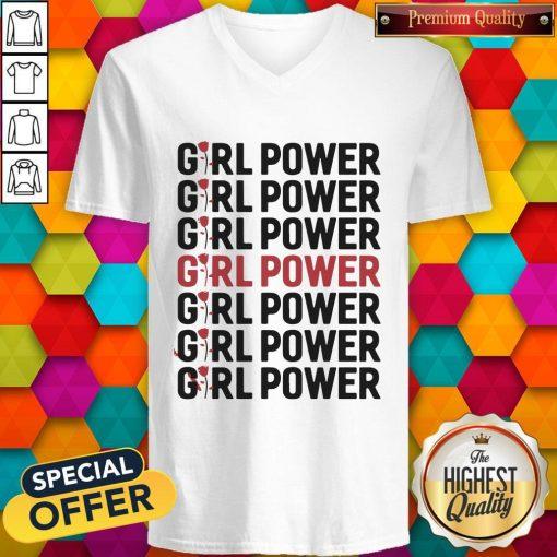 Girl Power Red Black V- neck