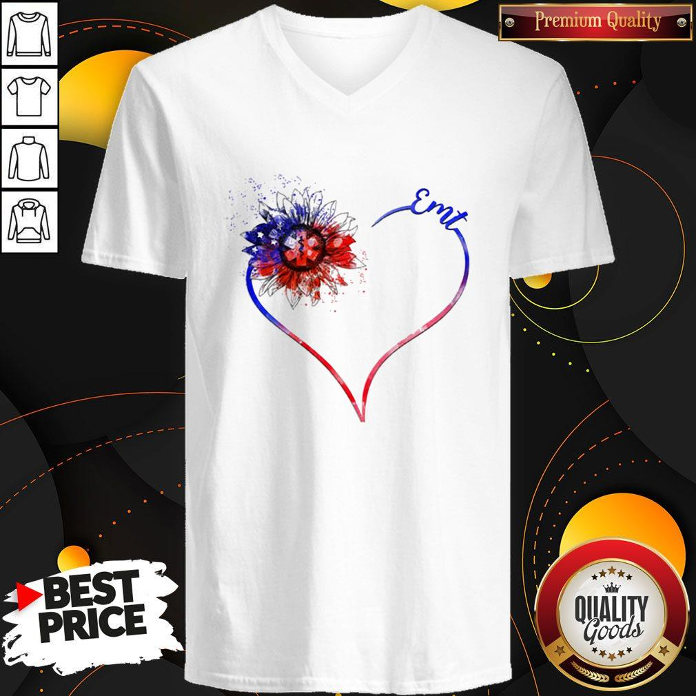 Heart Sunflower EMT Diamond Premium I Do It For My kids This Heart Holds No Space for Hate LGBT Shirt Classic V- neck