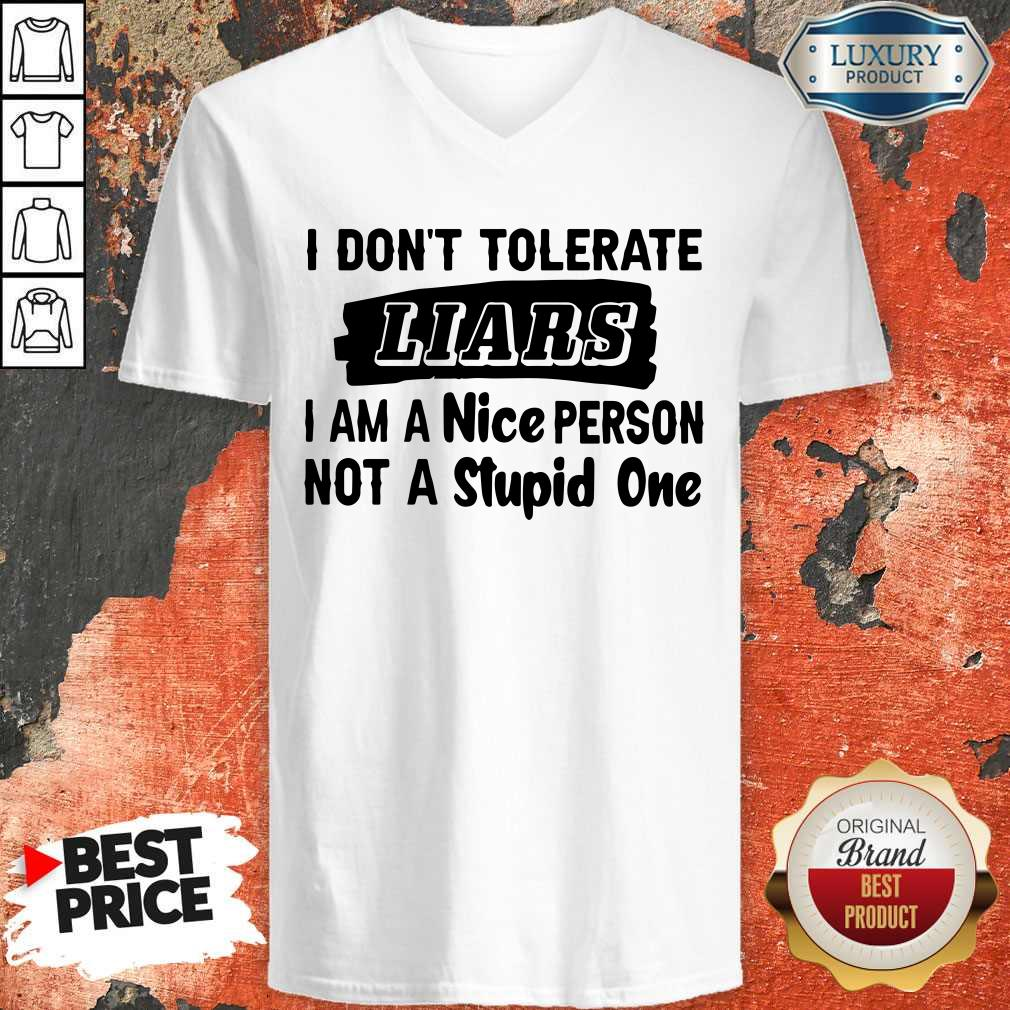 I Don't Tolerate Liars I Am A Nice Person Not A Stupid One V- neck