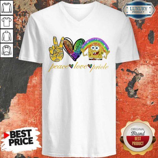 LGBT Peace Love Pricle Sponge Bob V- neck
