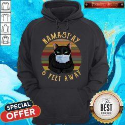 Nice Namast'ay 6 Feet Away Black Cat Face Mask Vintage Hoodie