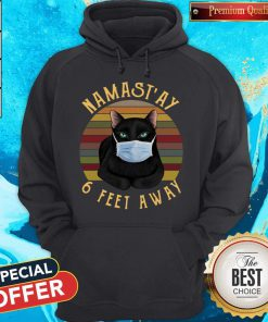Nice Namast'ay 6 Feet Away Black Cat Face Mask Vintage Hoodie