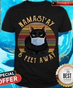 Nice Namast'ay 6 Feet Away Black Cat Face Mask Vintage Shirt