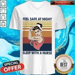 Nurse Woman Feel Safe At Night Sleep With A Nurse Vintage V- neck