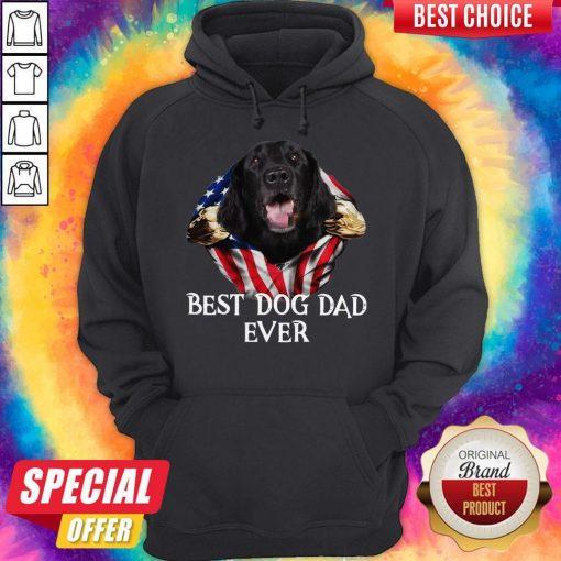 Premium Blood Inside Me Flat Coated Retriever Dog American Flag Best Dog Dad Ever Hoodie
