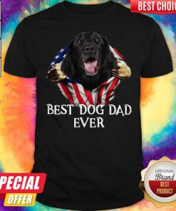 Premium Blood Inside Me Flat Coated Retriever Dog American Flag Best Dog Dad Ever Shirt