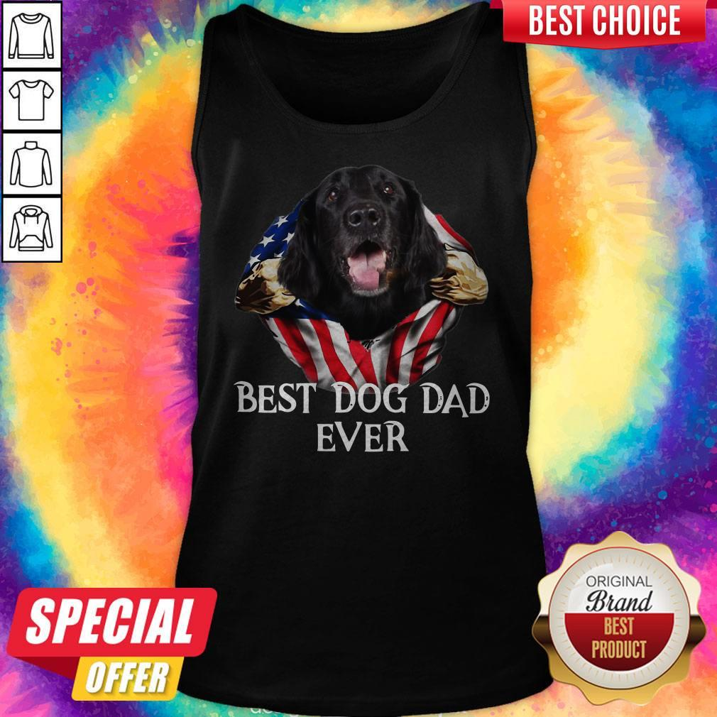 Premium Blood Inside Me Flat Coated Retriever Dog American Flag Best Dog Dad Ever Tank Top