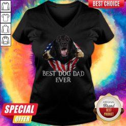 Premium Blood Inside Me Flat Coated Retriever Dog American Flag Best Dog Dad Ever V-neck