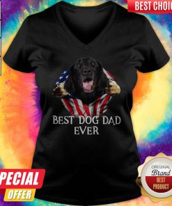 Premium Blood Inside Me Flat Coated Retriever Dog American Flag Best Dog Dad Ever V-neck