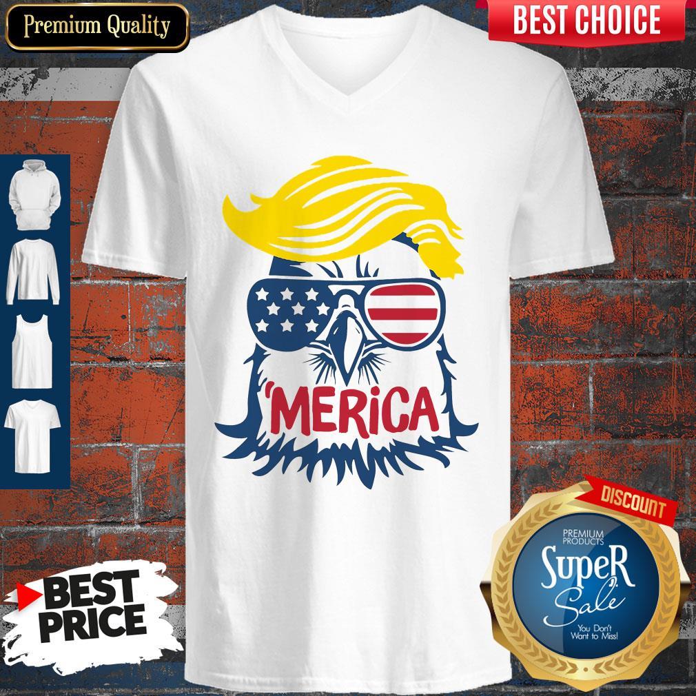 Premium Donald Trump Engle Merica Full Color V-neck