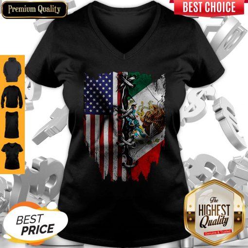 Premium Vintage Mexican American Flag V-neck