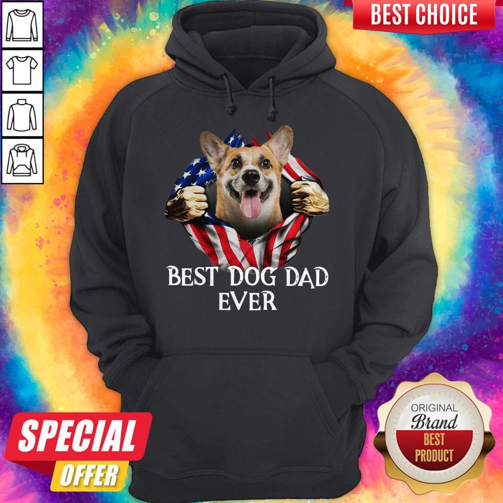 Pretty Blood Inside Me Corgi Dog American Flag Best Dog Dad Ever Hoodie