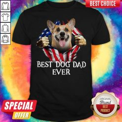 Pretty Blood Inside Me Corgi Dog American Flag Best Dog Dad Ever Shirt