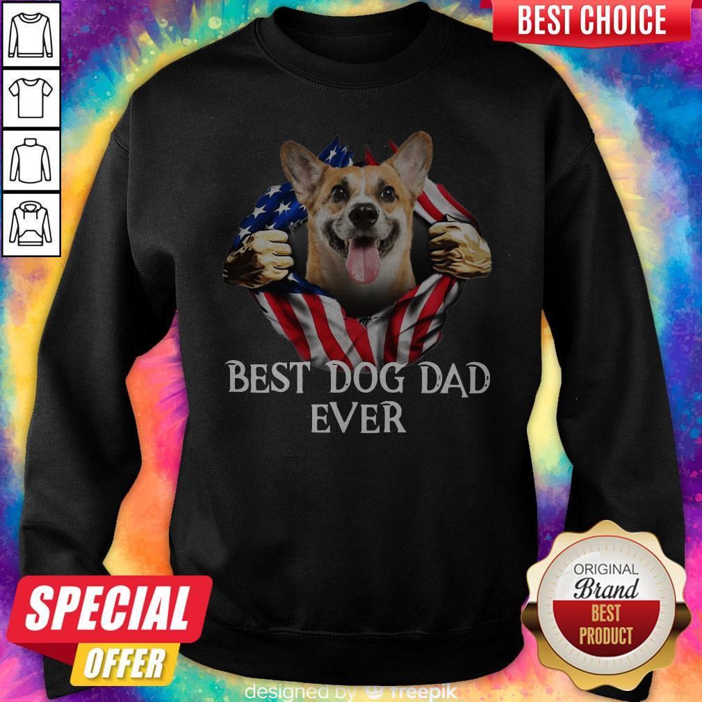 Pretty Blood Inside Me Corgi Dog American Flag Best Dog Dad Ever Sweatshirt