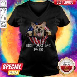 Pretty Blood Inside Me Corgi Dog American Flag Best Dog Dad Ever V-neck