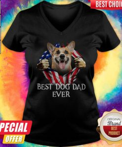 Pretty Blood Inside Me Corgi Dog American Flag Best Dog Dad Ever V-neck