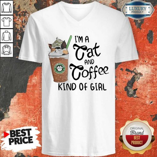 Pretty I'm A Cat And Coffee Kind Of Girl V-neck