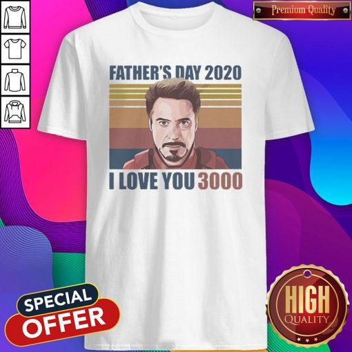 Robert Downey jr Iron Man Fathers Day 2020 I Love you 3000 Vintage Retro Shirt