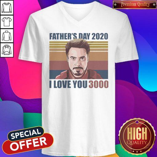 Robert Downey jr Iron Man Fathers Day 2020 I Love you 3000 Vintage Retro V- neck