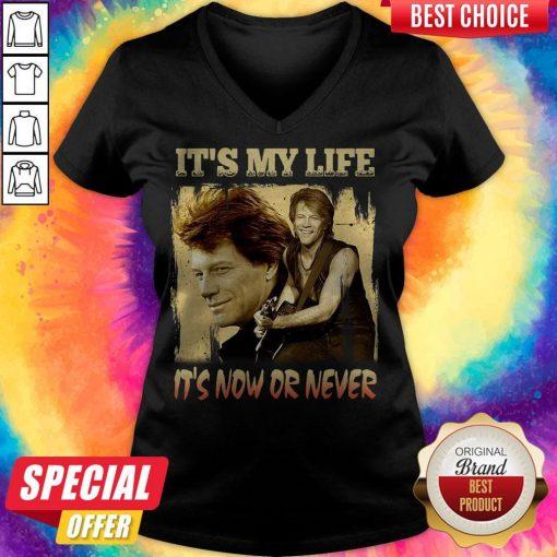 Top Bon Jovi It's My Life It's Now Or Never Vintage V-neck