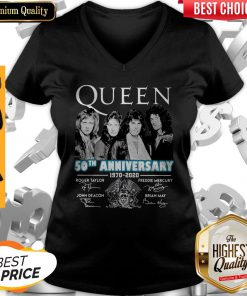 Top Queen 50th Anniversary 1970 2020 Vintage V-neck
