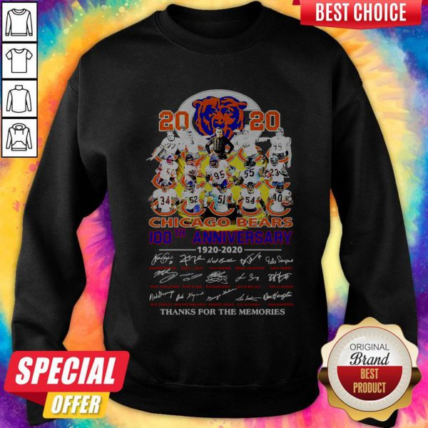 2020 Chicago Bears 100th Anniversary 1920 2020 Thank You For The Memories Sweatshirt