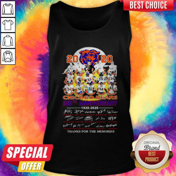 2020 Chicago Bears 100th Anniversary 1920 2020 Thank You For The Memories Tank Top