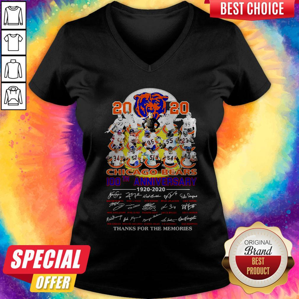 2020 Chicago Bears 100th Anniversary 1920 2020 Thank You For The Memories V-neck