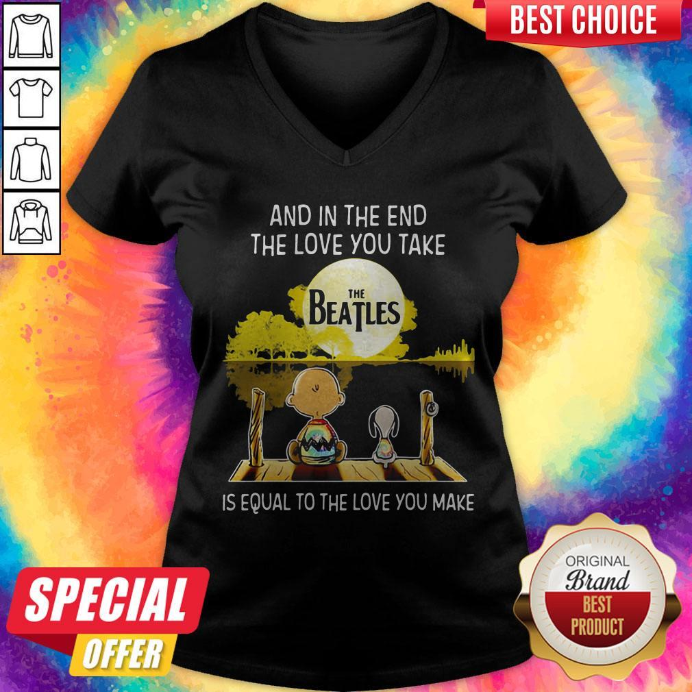 Charlie Brown And Snoopy And In The End The Love You Take Is Equal To The Love You Make The Beatles V-neck