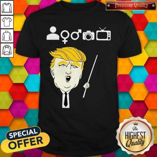 Person Woman Man Camera TV Shirt Donald Trump's Crazy Cognitive Test Word Association Shirt