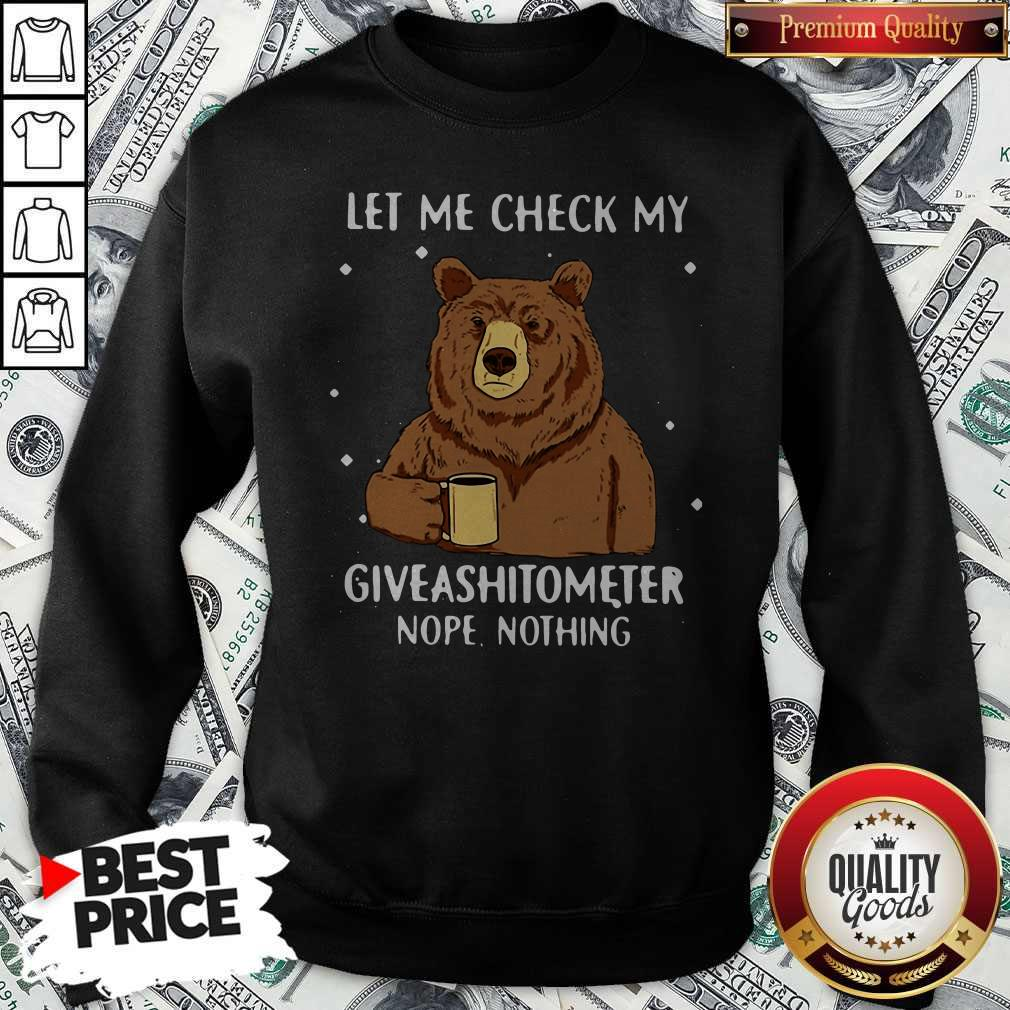 Bear Drinking Coffee Let Me Check My Giveashitometer Nope Nothing Sweatshirt
