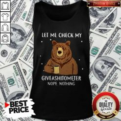 Bear Drinking Coffee Let Me Check My Giveashitometer Nope Nothing Tank Top