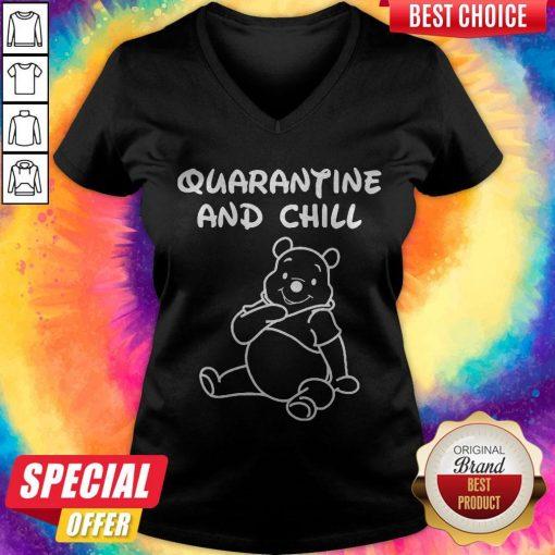Bee Cartoon Quarantine And Chill V-neck
