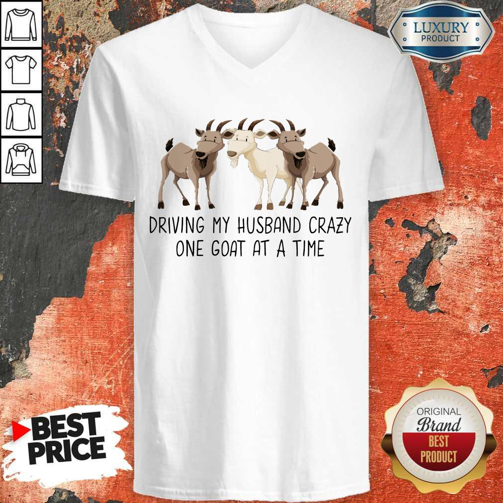Driving My Husband Crazy One Goat At A Time V-neck