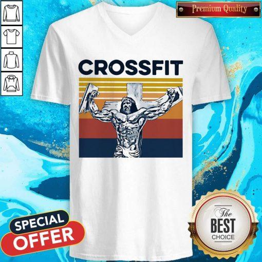 Jesus Strong Crossfit Vintage V-neck