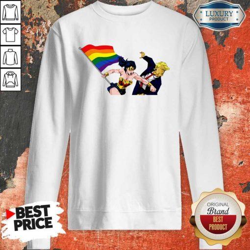 LGBT Wonder Woman Punch Trump Sweatshirt