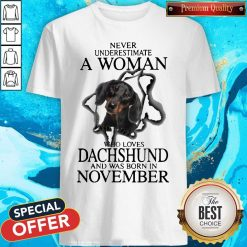 Never Underestimate A Woman Who Loves Dachshund And Was Born In November Shirt