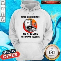 Never Underestimate An Old Man With Vinyl Records Moon Hoodie
