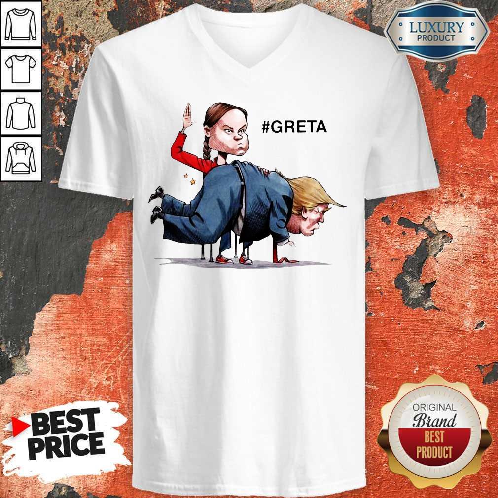 Nice Greta Thunberg Donald Trump V-neck