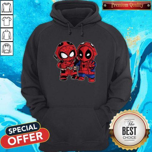 Official Baby Deadpool And Baby Spider Man Hoodie